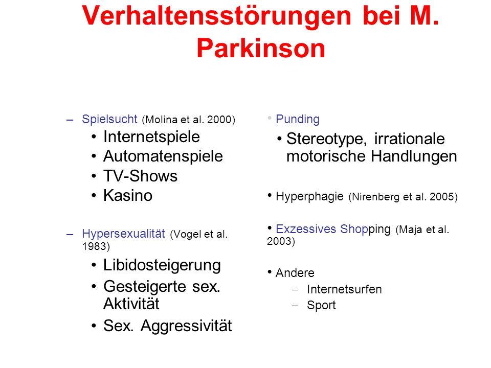 Verhaltensstörungen bei M. Parkinson –Spielsucht (Molina et al.