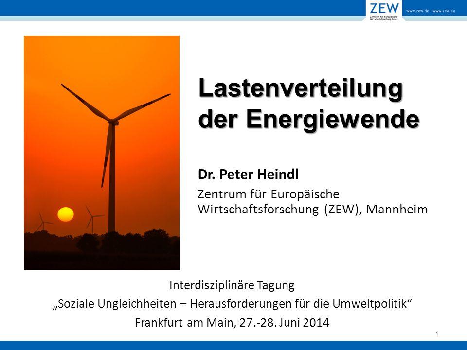 """Lastenverteilung der Energiewende Interdisziplinäre Tagung """"Soziale Ungleichheiten – Herausforderungen für die Umweltpolitik Frankfurt am Main, 27.-28."""