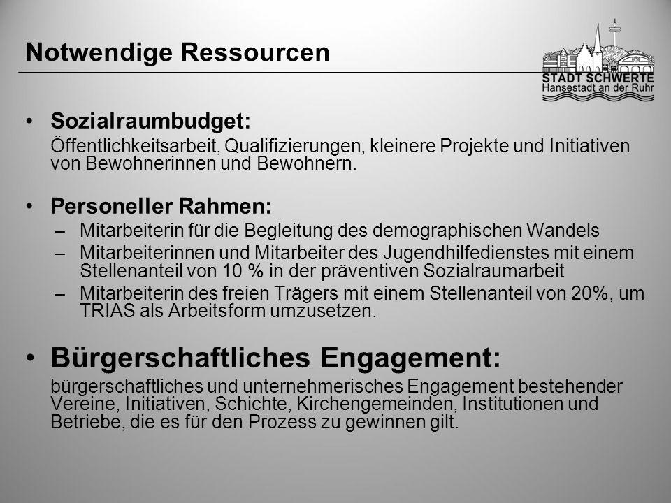 Notwendige Ressourcen Sozialraumbudget: Öffentlichkeitsarbeit, Qualifizierungen, kleinere Projekte und Initiativen von Bewohnerinnen und Bewohnern. Pe
