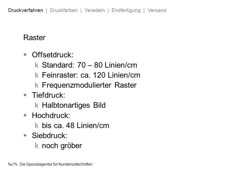‰$% Die Spezialagentur für Kundenzeitschriften Raster  Offsetdruck:  Standard: 70 – 80 Linien/cm  Feinraster: ca.