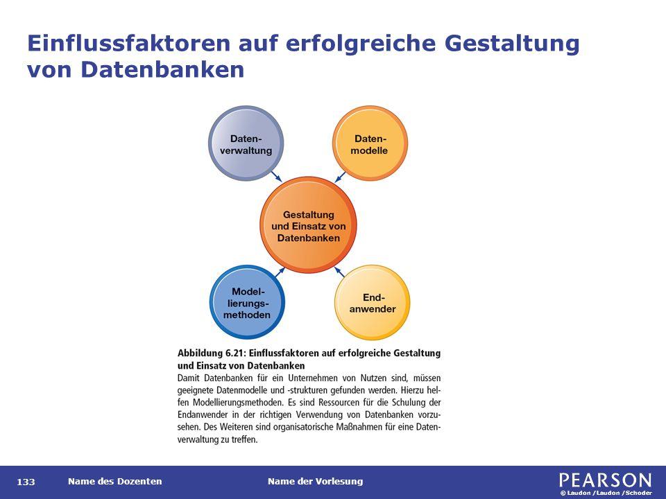 © Laudon /Laudon /Schoder Name des DozentenName der Vorlesung Einflussfaktoren auf erfolgreiche Gestaltung von Datenbanken 133