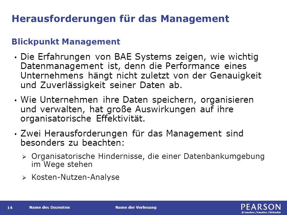 © Laudon /Laudon /Schoder Name des DozentenName der Vorlesung Herausforderungen für das Management Die Erfahrungen von BAE Systems zeigen, wie wichtig Datenmanagement ist, denn die Performance eines Unternehmens hängt nicht zuletzt von der Genauigkeit und Zuverlässigkeit seiner Daten ab.