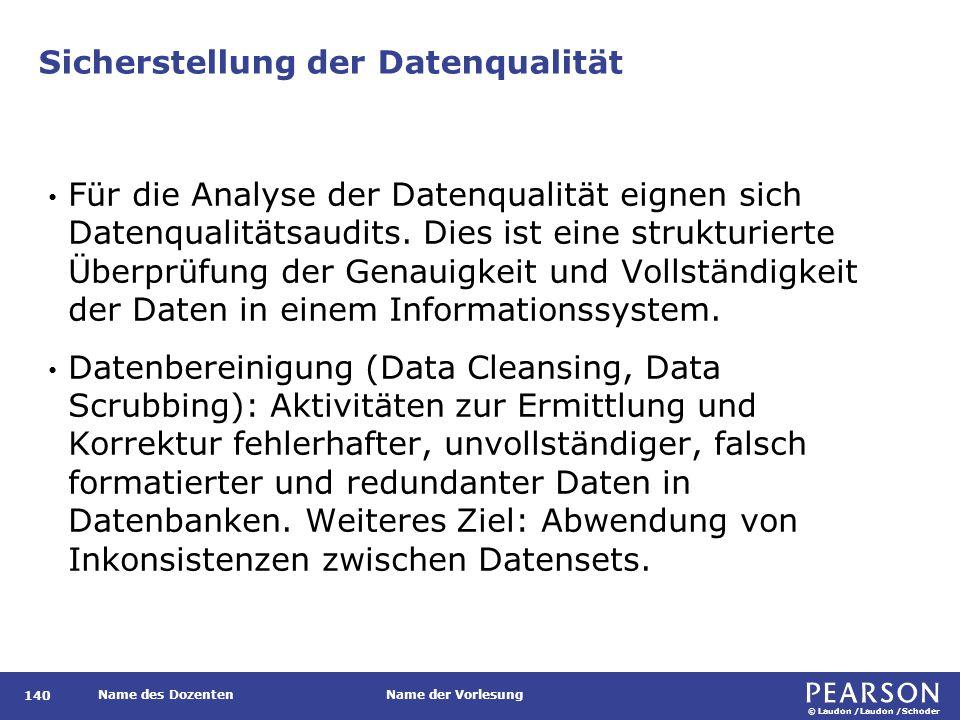© Laudon /Laudon /Schoder Name des DozentenName der Vorlesung Sicherstellung der Datenqualität Für die Analyse der Datenqualität eignen sich Datenqualitätsaudits.