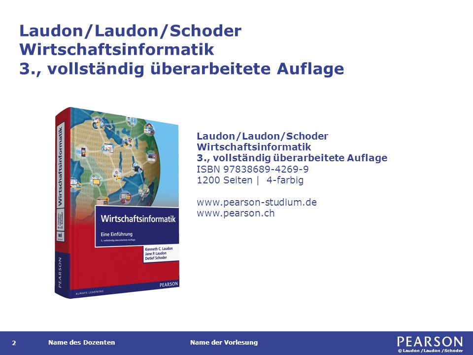 © Laudon /Laudon /Schoder Name des DozentenName der Vorlesung Business Intelligence Techniken zur Konsolidierung, Analyse und Bereitstellung von Daten zur Entscheidungs- unterstützung.