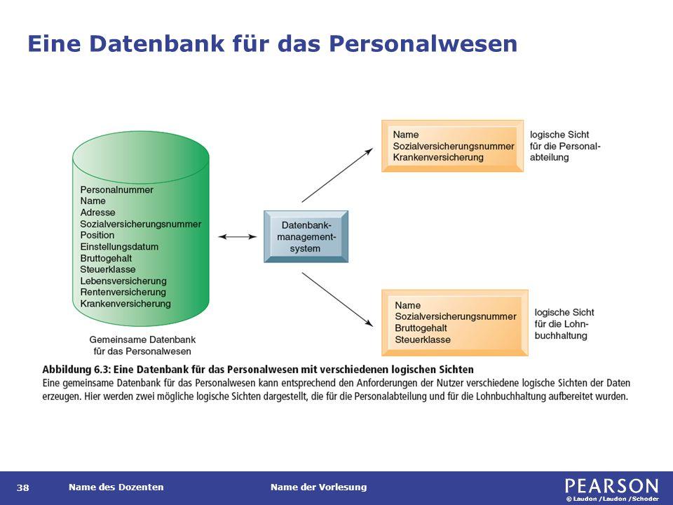 © Laudon /Laudon /Schoder Name des DozentenName der Vorlesung Eine Datenbank für das Personalwesen 38