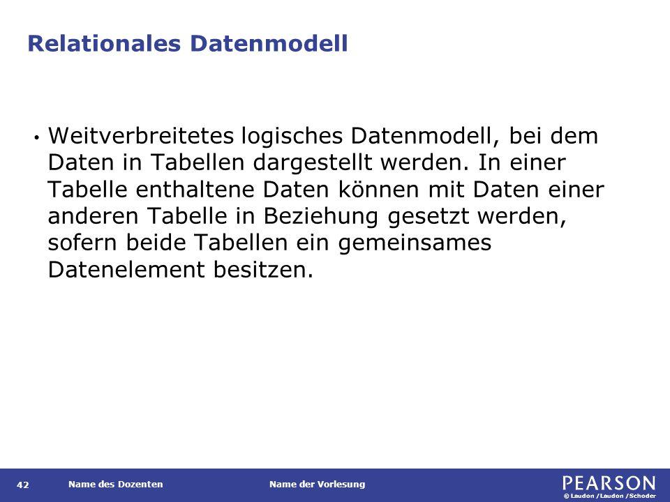 © Laudon /Laudon /Schoder Name des DozentenName der Vorlesung Relationales Datenmodell Weitverbreitetes logisches Datenmodell, bei dem Daten in Tabellen dargestellt werden.