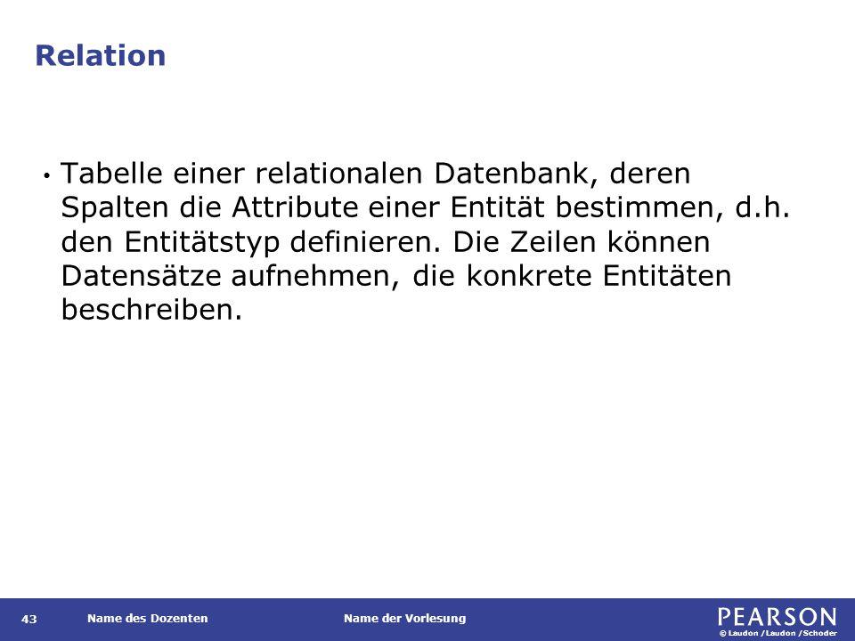 © Laudon /Laudon /Schoder Name des DozentenName der Vorlesung Relation Tabelle einer relationalen Datenbank, deren Spalten die Attribute einer Entität bestimmen, d.h.