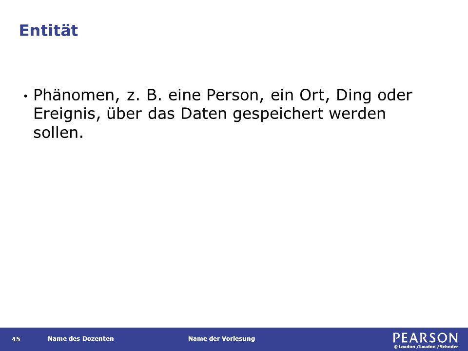© Laudon /Laudon /Schoder Name des DozentenName der Vorlesung Entität Phänomen, z.