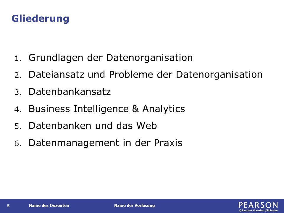 © Laudon /Laudon /Schoder Name des DozentenName der Vorlesung Lernziele Was sind die zentralen Probleme bei der Organisation von Daten.