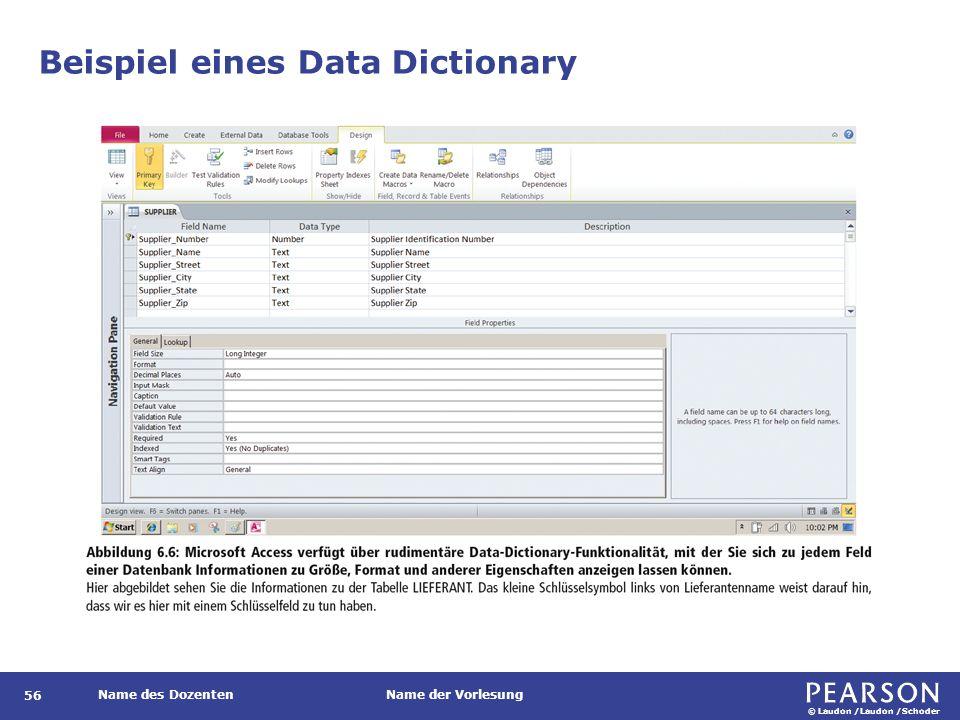 © Laudon /Laudon /Schoder Name des DozentenName der Vorlesung Beispiel eines Data Dictionary 56