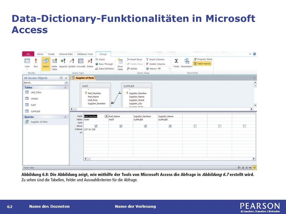 © Laudon /Laudon /Schoder Name des DozentenName der Vorlesung Data-Dictionary-Funktionalitäten in Microsoft Access 62