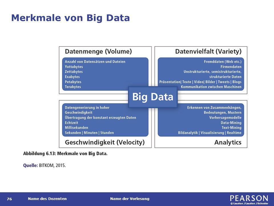 © Laudon /Laudon /Schoder Name des DozentenName der Vorlesung Merkmale von Big Data 76