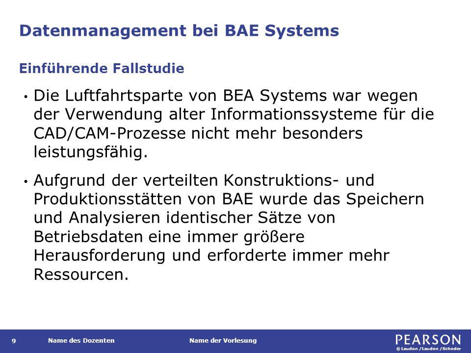 © Laudon /Laudon /Schoder Name des DozentenName der Vorlesung Datenmanagement bei BAE Systems Die Luftfahrtsparte von BEA Systems war wegen der Verwendung alter Informationssysteme für die CAD/CAM-Prozesse nicht mehr besonders leistungsfähig.
