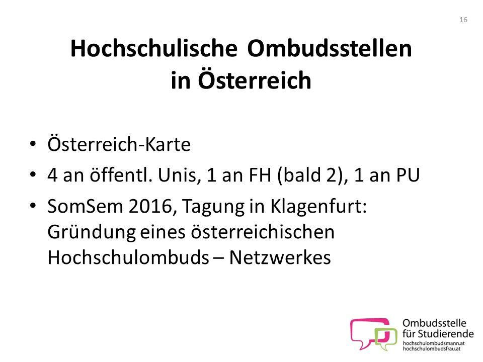 Hochschulische Ombudsstellen in Österreich Österreich-Karte 4 an öffentl. Unis, 1 an FH (bald 2), 1 an PU SomSem 2016, Tagung in Klagenfurt: Gründung