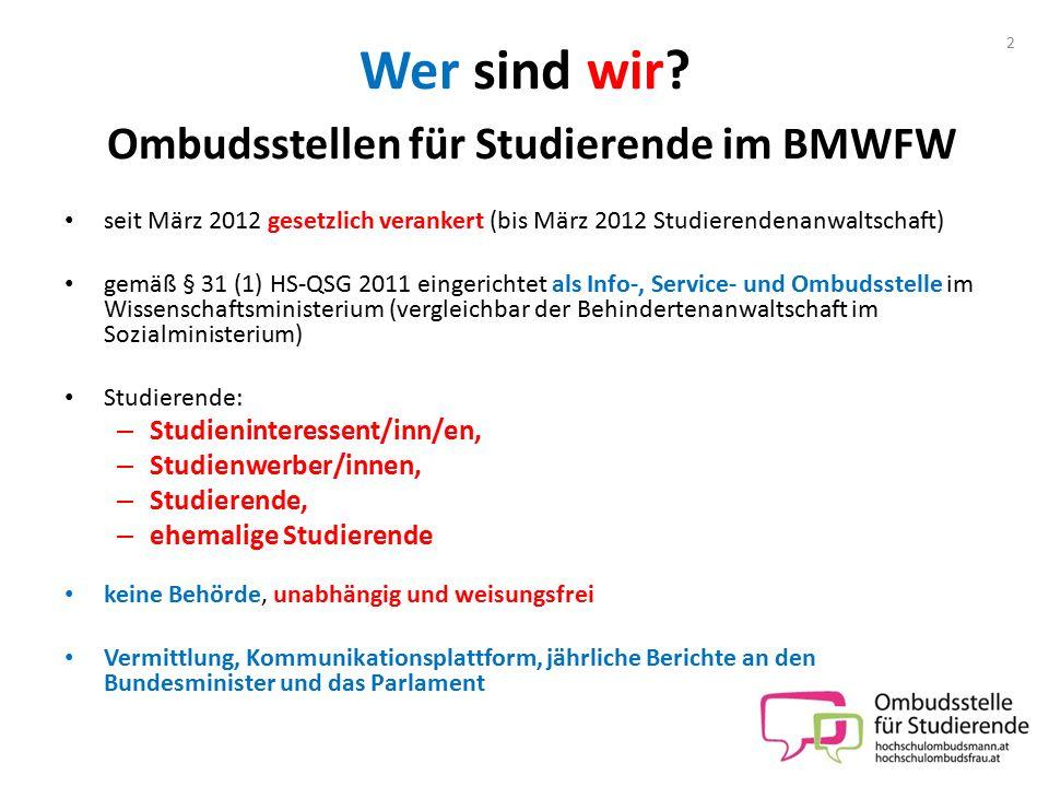 Wer sind wir? Ombudsstellen für Studierende im BMWFW seit März 2012 gesetzlich verankert (bis März 2012 Studierendenanwaltschaft) gemäß § 31 (1) HS-QS