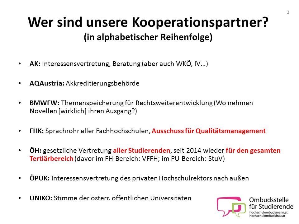 Wer sind unsere Kooperationspartner? (in alphabetischer Reihenfolge) AK: Interessensvertretung, Beratung (aber auch WKÖ, IV…) AQAustria: Akkreditierun