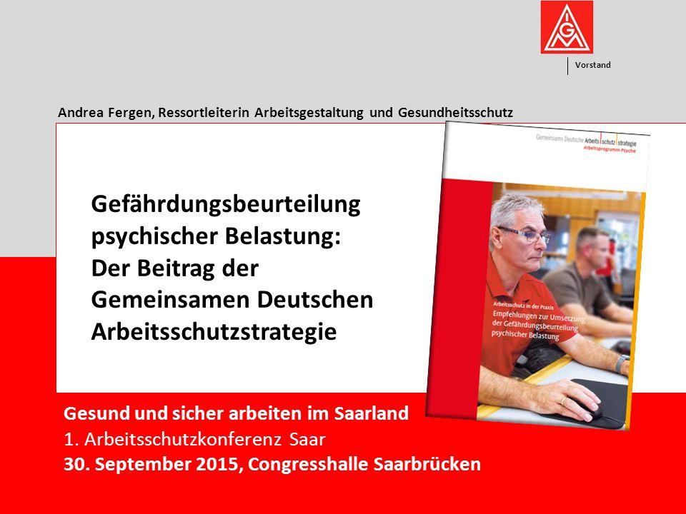 Vorstand 1 Gesund und sicher arbeiten im Saarland 1.