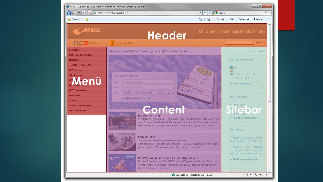 Menü Header ContentSitebar