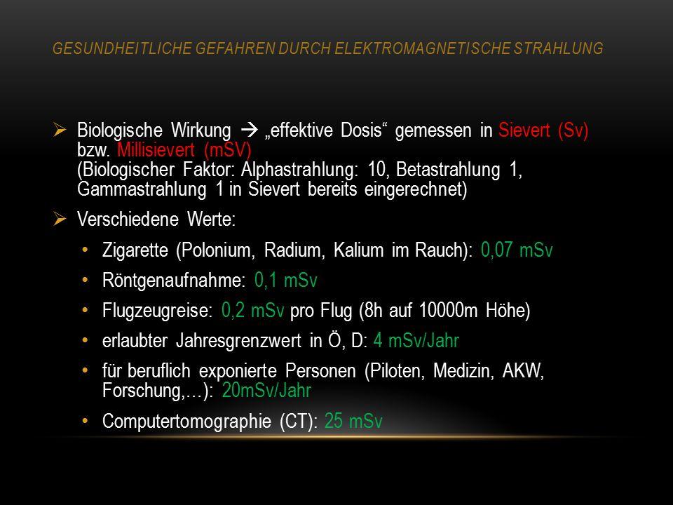  Strahlenquellen: Natürliche (terrestrische) Strahlung: Quellen: hauptsächlich Radon (Gas, entweicht aus Mauerwerk), und Kalium-40 (im Körper durch Nahrungsaufnahme) Dosis: durchschnittlich 2,5mSV pro Jahr (Deutschland), stark ortsabhängig, stellenweise 100mSv/Jahr) Höhenstrahlung: aus der kosmischen Strahlung, ca 0,3 mSV/Jahr (Meereshöhe), in 10 km Höhe 30 mSv/Jahr.