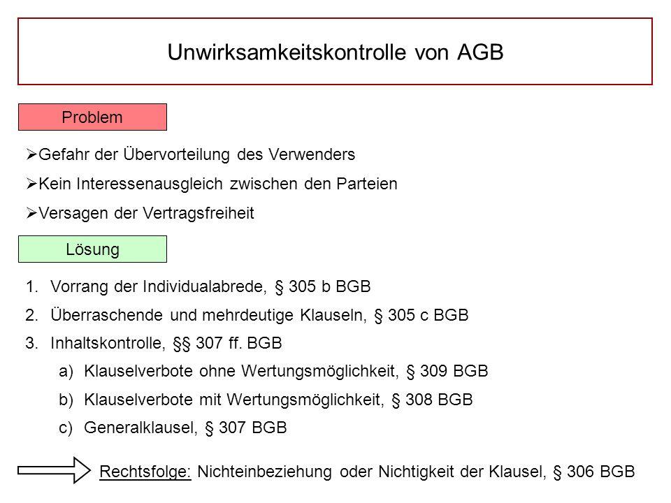 Unwirksamkeitskontrolle von AGB Problem  Gefahr der Übervorteilung des Verwenders  Kein Interessenausgleich zwischen den Parteien  Versagen der Ver