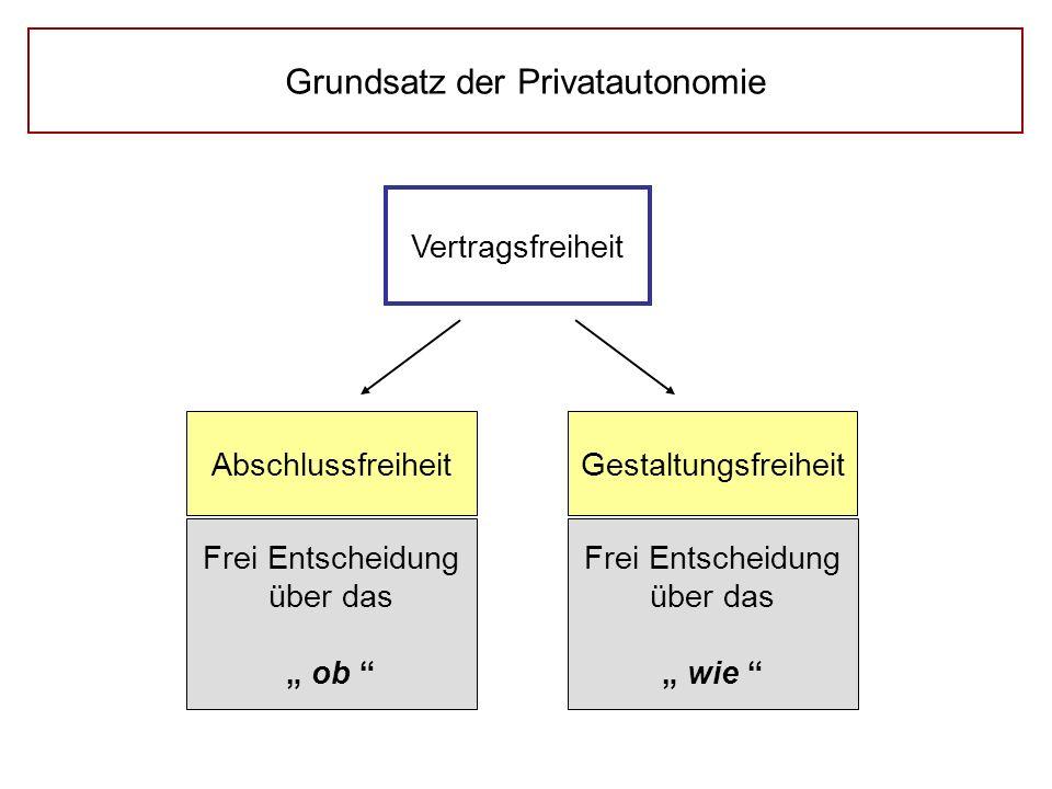 """Grundsatz der Privatautonomie Vertragsfreiheit Abschlussfreiheit Gestaltungsfreiheit Frei Entscheidung über das """" ob """" Frei Entscheidung über das """" wi"""