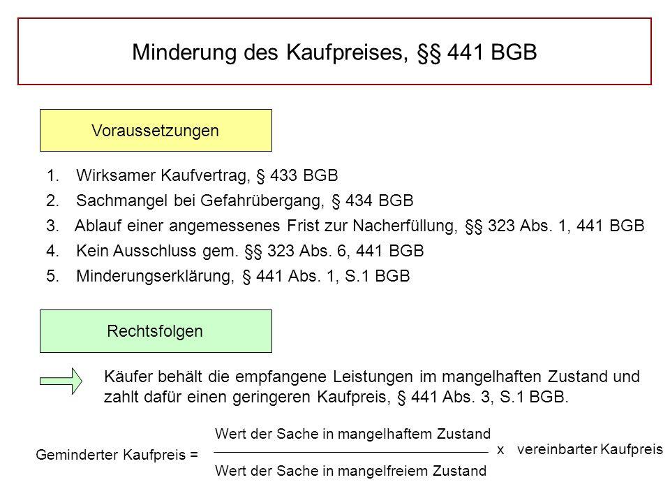 Minderung des Kaufpreises, §§ 441 BGB Voraussetzungen Rechtsfolgen 1.