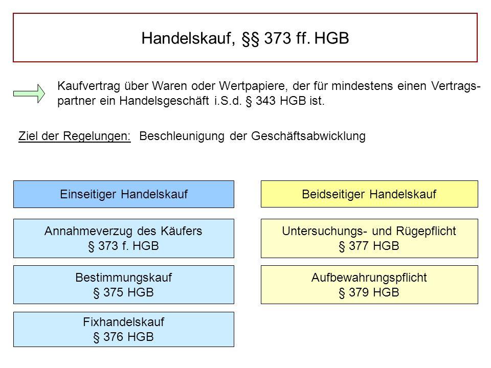 Handelskauf, §§ 373 ff. HGB Kaufvertrag über Waren oder Wertpapiere, der für mindestens einen Vertrags- partner ein Handelsgeschäft i.S.d. § 343 HGB i