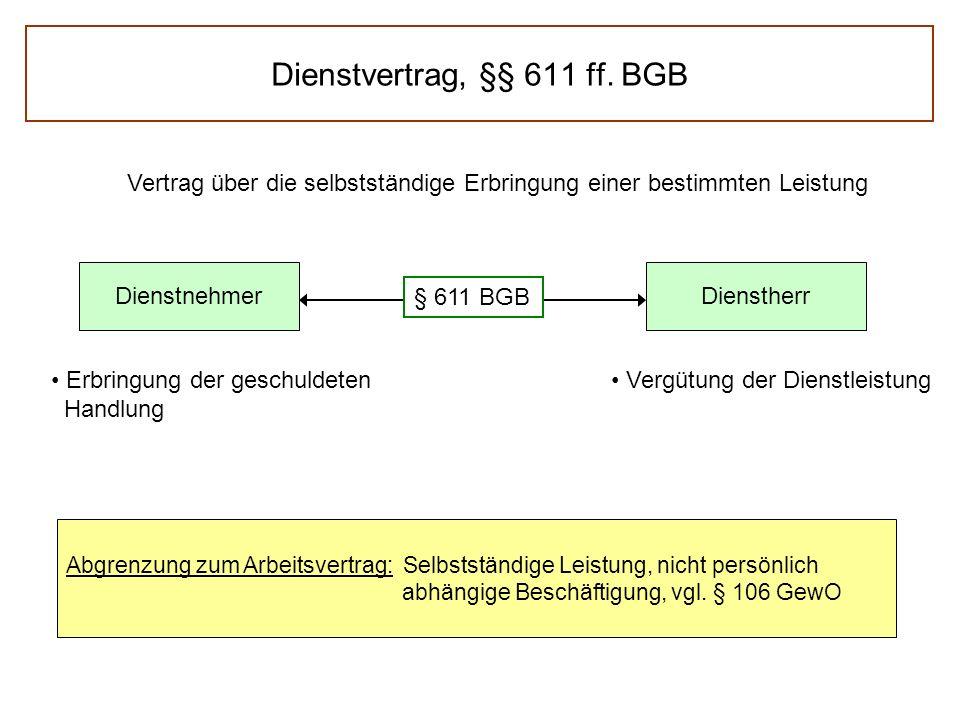 Dienstvertrag, §§ 611 ff. BGB Vertrag über die selbstständige Erbringung einer bestimmten Leistung DienstnehmerDienstherr § 611 BGB Erbringung der ges