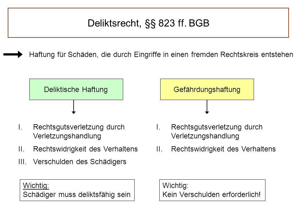 Deliktsrecht, §§ 823 ff. BGB Haftung für Schäden, die durch Eingriffe in einen fremden Rechtskreis entstehen Deliktische HaftungGefährdungshaftung I.R