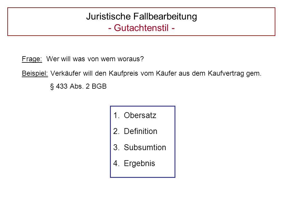 Juristische Fallbearbeitung - Gutachtenstil - Frage: Wer will was von wem woraus.