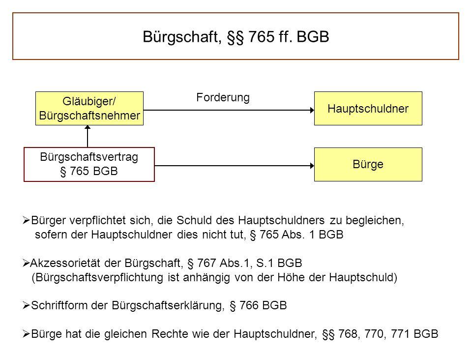 Bürgschaft, §§ 765 ff.