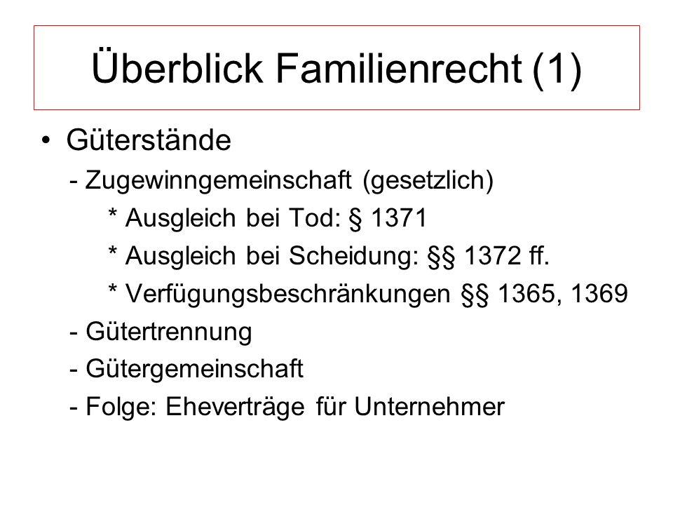Überblick Familienrecht (1) Güterstände - Zugewinngemeinschaft (gesetzlich) * Ausgleich bei Tod: § 1371 * Ausgleich bei Scheidung: §§ 1372 ff.