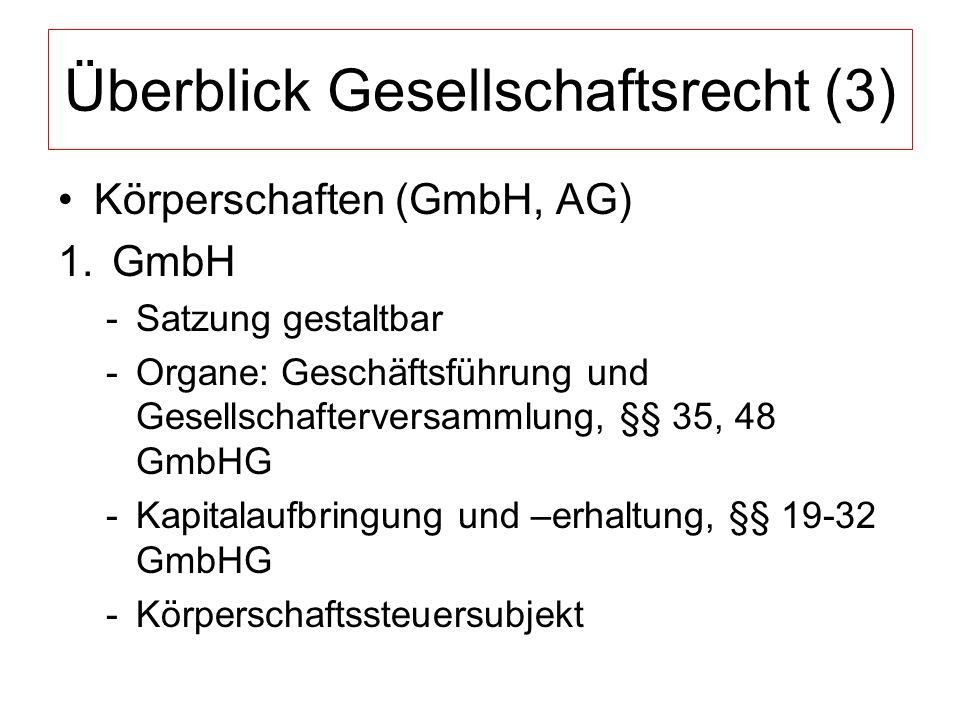 Überblick Gesellschaftsrecht (3) Körperschaften (GmbH, AG) 1.GmbH -Satzung gestaltbar -Organe: Geschäftsführung und Gesellschafterversammlung, §§ 35, 48 GmbHG -Kapitalaufbringung und –erhaltung, §§ 19-32 GmbHG -Körperschaftssteuersubjekt