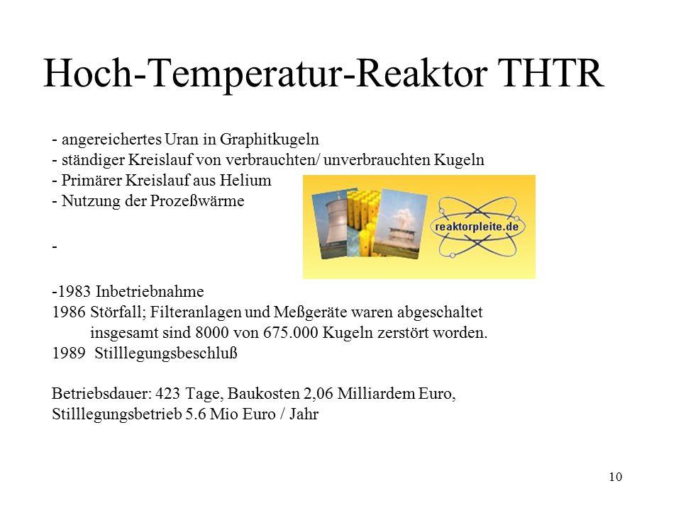 10 Hoch-Temperatur-Reaktor THTR - angereichertes Uran in Graphitkugeln - ständiger Kreislauf von verbrauchten/ unverbrauchten Kugeln - Primärer Kreisl