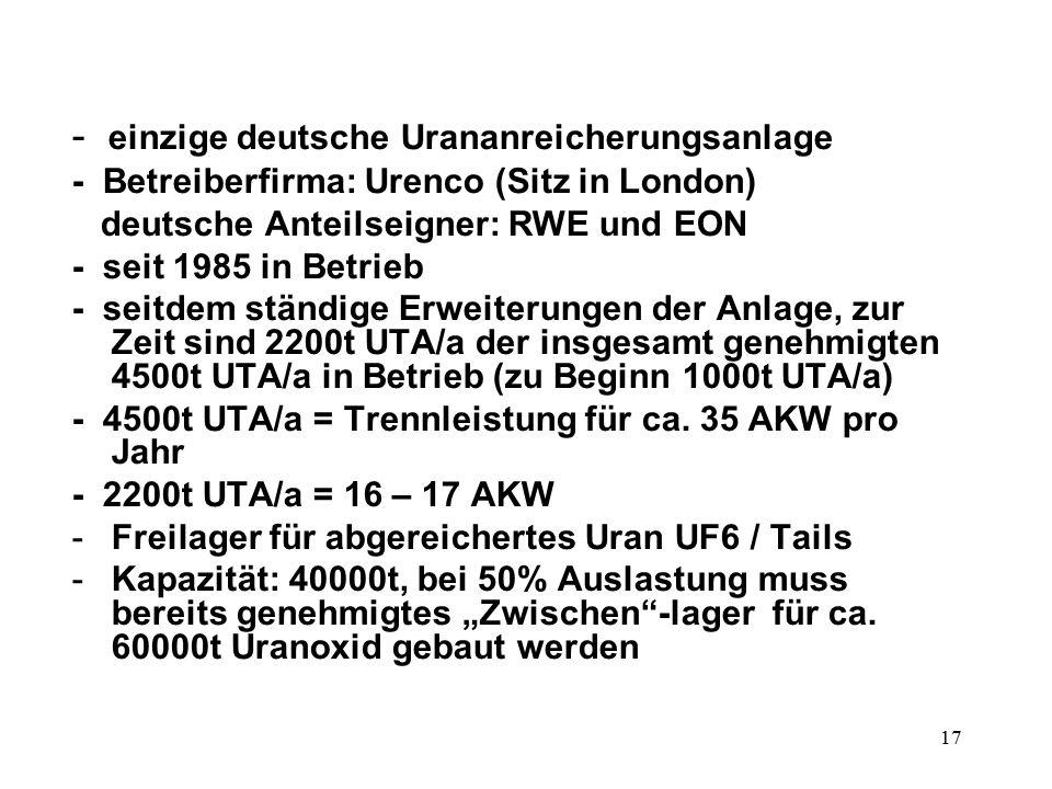 17 - einzige deutsche Urananreicherungsanlage - Betreiberfirma: Urenco (Sitz in London) deutsche Anteilseigner: RWE und EON - seit 1985 in Betrieb -