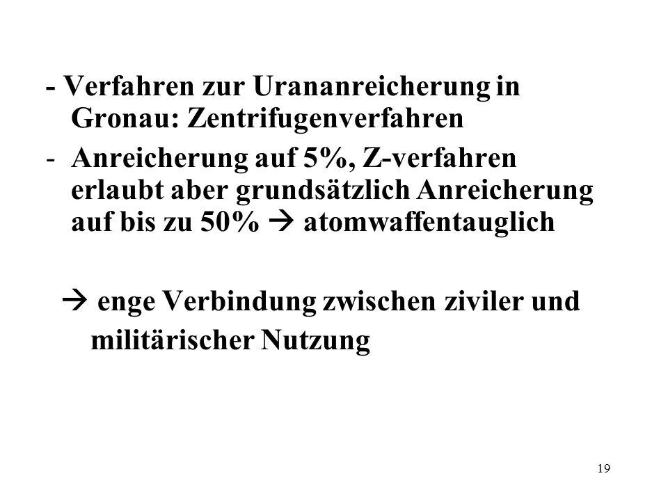 19 - Verfahren zur Urananreicherung in Gronau: Zentrifugenverfahren -Anreicherung auf 5%, Z-verfahren erlaubt aber grundsätzlich Anreicherung auf bis