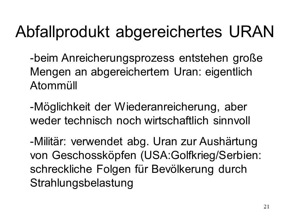 21 Abfallprodukt abgereichertes URAN -beim Anreicherungsprozess entstehen große Mengen an abgereichertem Uran: eigentlich Atommüll -Möglichkeit der Wi