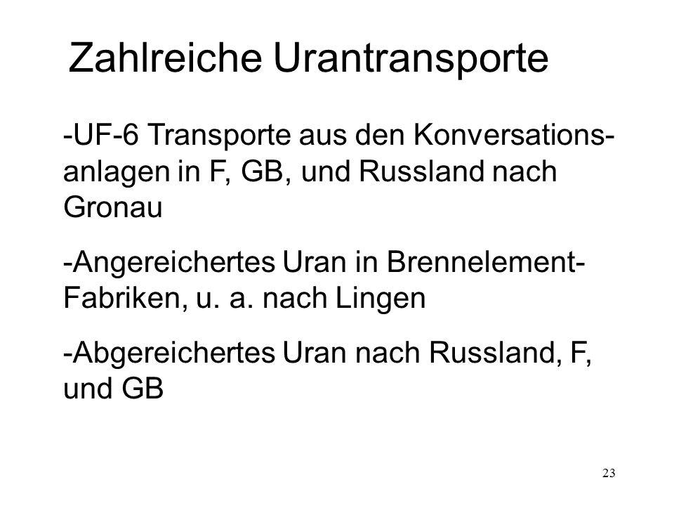 23 Zahlreiche Urantransporte -UF-6 Transporte aus den Konversations- anlagen in F, GB, und Russland nach Gronau -Angereichertes Uran in Brennelement-