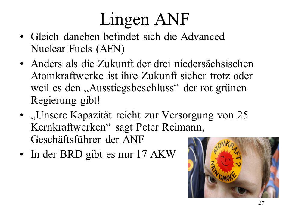 27 Lingen ANF Gleich daneben befindet sich die Advanced Nuclear Fuels (AFN) Anders als die Zukunft der drei niedersächsischen Atomkraftwerke ist ihre