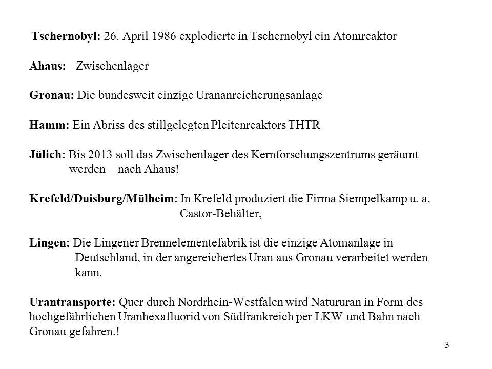 4 Hier Karte NRW Standorten Lingen Gronau Almeno/NL Ahaus Duisburg/Essen Hamm-Uentrop Jülich Mülheim/Kärlich (stillgelegt) Almeno