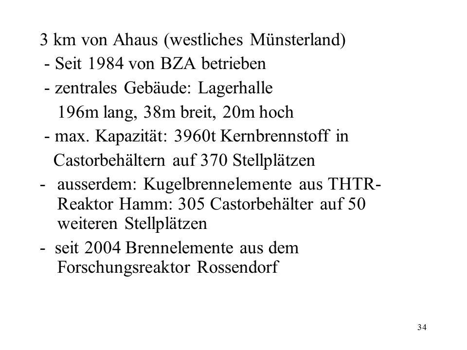 34 3 km von Ahaus (westliches Münsterland) - Seit 1984 von BZA betrieben - zentrales Gebäude: Lagerhalle 196m lang, 38m breit, 20m hoch - max. Kapazi