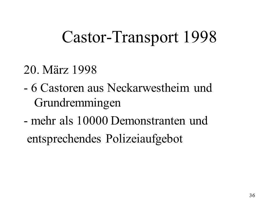 36 Castor-Transport 1998 20. März 1998 - 6 Castoren aus Neckarwestheim und Grundremmingen - mehr als 10000 Demonstranten und entsprechendes Polizeiauf