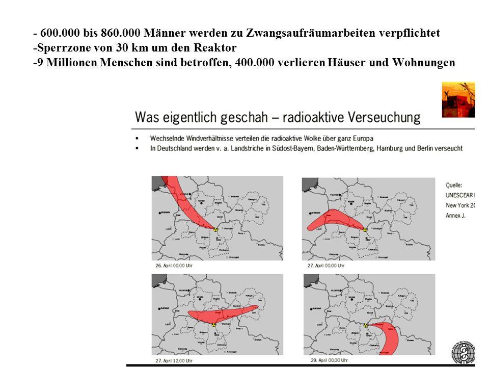 6 - 600.000 bis 860.000 Männer werden zu Zwangsaufräumarbeiten verpflichtet -Sperrzone von 30 km um den Reaktor -9 Millionen Menschen sind betroffen,