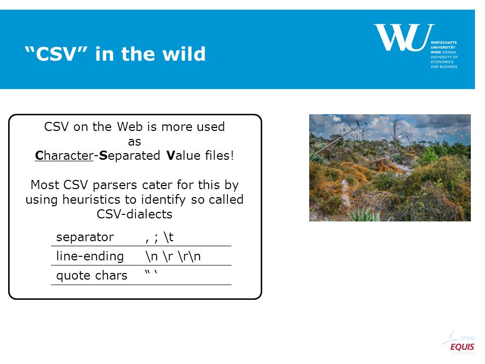 CSV on the Web is more used as Character-Separated Value files.