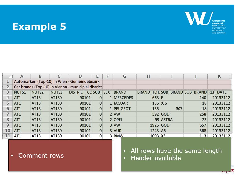 Example 5 All rows have the same length Header available All rows have the same length Header available Comment rows