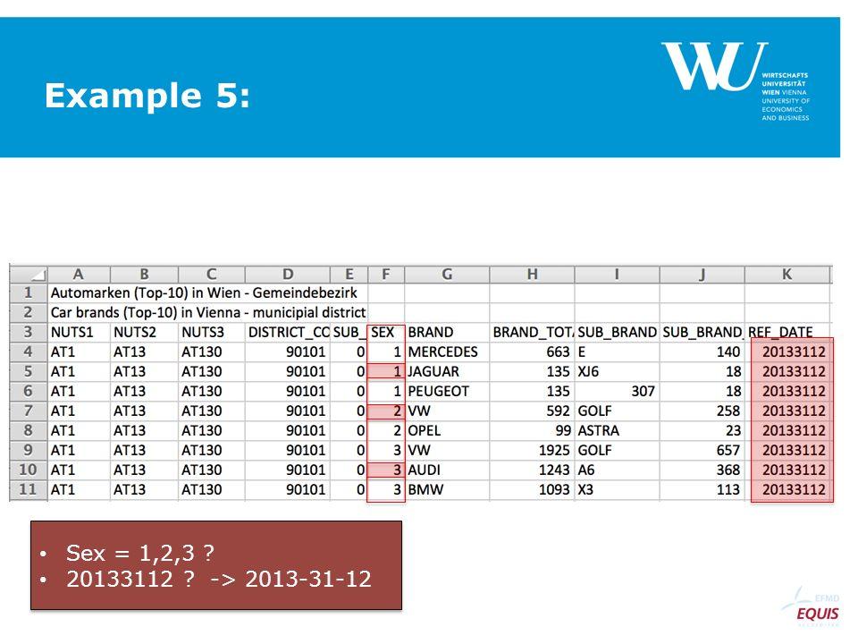 Example 5: Sex = 1,2,3 20133112 -> 2013-31-12 Sex = 1,2,3 20133112 -> 2013-31-12