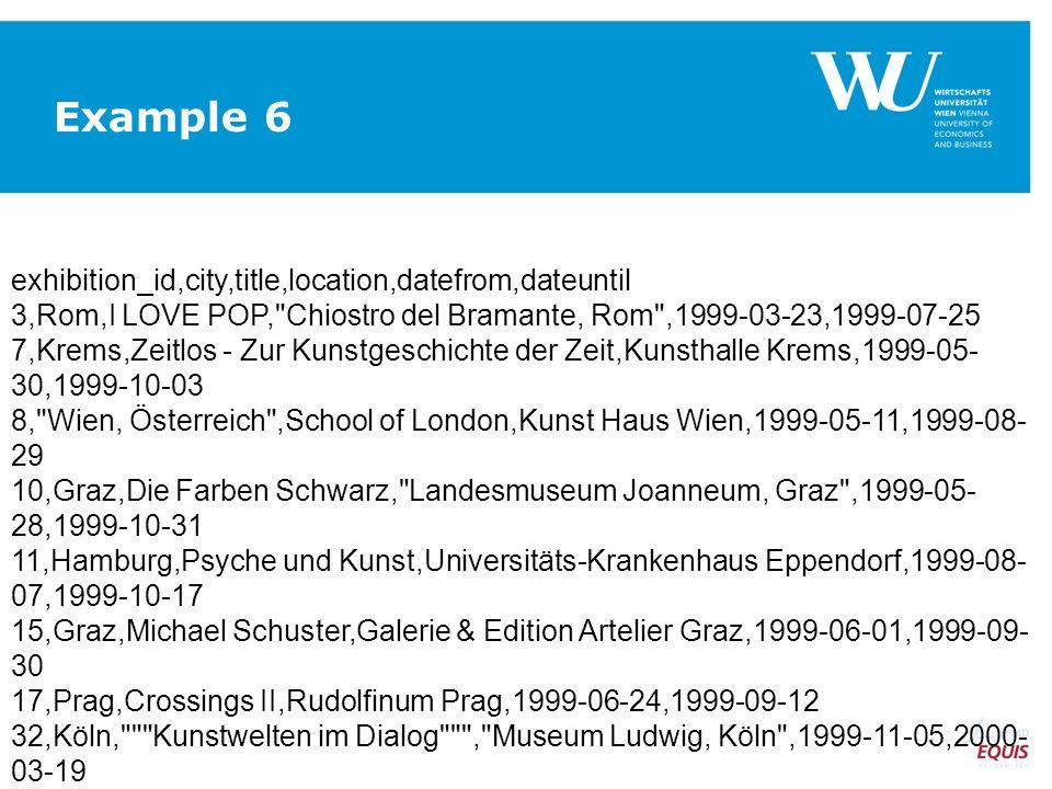 exhibition_id,city,title,location,datefrom,dateuntil 3,Rom,I LOVE POP, Chiostro del Bramante, Rom ,1999-03-23,1999-07-25 7,Krems,Zeitlos - Zur Kunstgeschichte der Zeit,Kunsthalle Krems,1999-05- 30,1999-10-03 8, Wien, Österreich ,School of London,Kunst Haus Wien,1999-05-11,1999-08- 29 10,Graz,Die Farben Schwarz, Landesmuseum Joanneum, Graz ,1999-05- 28,1999-10-31 11,Hamburg,Psyche und Kunst,Universitäts-Krankenhaus Eppendorf,1999-08- 07,1999-10-17 15,Graz,Michael Schuster,Galerie & Edition Artelier Graz,1999-06-01,1999-09- 30 17,Prag,Crossings II,Rudolfinum Prag,1999-06-24,1999-09-12 32,Köln, Kunstwelten im Dialog , Museum Ludwig, Köln ,1999-11-05,2000- 03-19 Example 6
