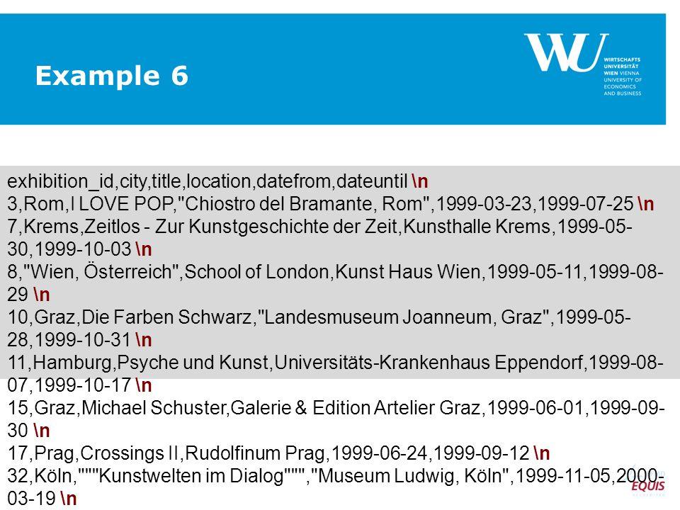 exhibition_id,city,title,location,datefrom,dateuntil \n 3,Rom,I LOVE POP, Chiostro del Bramante, Rom ,1999-03-23,1999-07-25 \n 7,Krems,Zeitlos - Zur Kunstgeschichte der Zeit,Kunsthalle Krems,1999-05- 30,1999-10-03 \n 8, Wien, Österreich ,School of London,Kunst Haus Wien,1999-05-11,1999-08- 29 \n 10,Graz,Die Farben Schwarz, Landesmuseum Joanneum, Graz ,1999-05- 28,1999-10-31 \n 11,Hamburg,Psyche und Kunst,Universitäts-Krankenhaus Eppendorf,1999-08- 07,1999-10-17 \n 15,Graz,Michael Schuster,Galerie & Edition Artelier Graz,1999-06-01,1999-09- 30 \n 17,Prag,Crossings II,Rudolfinum Prag,1999-06-24,1999-09-12 \n 32,Köln, Kunstwelten im Dialog , Museum Ludwig, Köln ,1999-11-05,2000- 03-19 \n Example 6