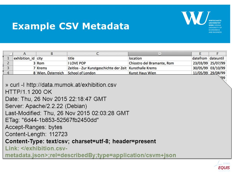 Example CSV Metadata » curl -I http://data.mumok.at/exhibition.csv HTTP/1.1 200 OK Date: Thu, 26 Nov 2015 22:18:47 GMT Server: Apache/2.2.22 (Debian)