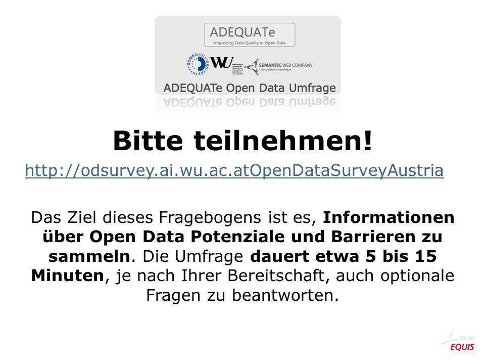 ADEQUATe Open Data Umfrage Bitte teilnehmen.